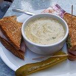 Cauliflower soup and ham sandwich