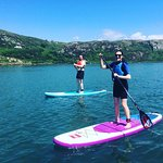 My husband and me trying SUP for the first time. We both absolutely loved it!