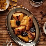 roasted potato,  caramel, prunes