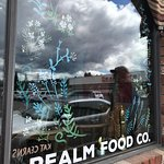 Colorfully decorated windows, Realm Food Co, Craig street, Parksville, BC