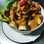 The budda bowl, with its own peanut sauce!!