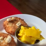 Beautiful fish cakes with brilliant mustard pickle.