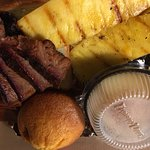 Brisket, pineapple, apples, and corn muffin