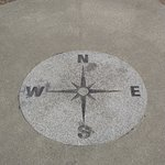 ME - BIDDEFORD - MECHANICS PARK - COMPASS INLAID ON THE OVERLOOK PAVEMENT