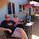 outdoor patio seating at The Blue Room Bar at Cartlandia for humans and doggies