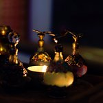 Dimly lit, beautifully cool. Choosing our oils at the start of our treatments.