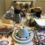 The lavish breakfast spread each morning