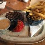 6oz ribeye with peppercorn sauce and fries