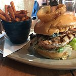 Chicken club burger with sweet potato fries