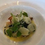 Grilled tubot fillet, white asparagus, caviar butter sauce