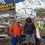 Mr Asim and  Mr Carmine from Australia at  Annapurna Base Camp(ABC) along with our  Guide Mr Ash