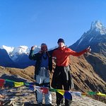 Mr Mikko from Finland with our veteran trekking guide Mr Yogi in Mardi Himal Trek on 30 Nov 2017