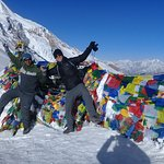 Mr Mathias,Chile with our Guide Bishnu  at the summit of Throng Pass(5416m), Annapurna Circuit T