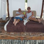 Enjoying our beach bed!