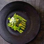 scalops tartar with asparagus carpaccio