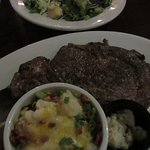 My yummy prime rib & au gratins were delivered soon after I started my salad.