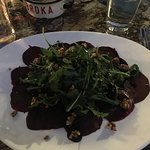 That beet carpaccio is so good! (vegan without cheese)