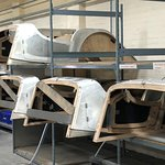 Aluminium panels are mounted on the wooden sub-frame