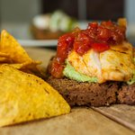 home made avocado guacamole with chicken and pepper relish on home made treackle bread