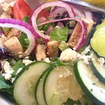 The Greek Salad with Grilled Chicken, huge portion too!