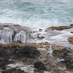 Swell being drawn back out of Thor's Well
