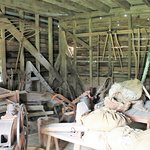 Farm implements in storage shed