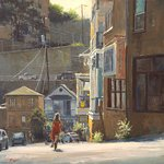 Bike Ride in Jerome, Oil painting by Richard Boyer