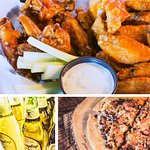 Daily food specials including AYWTE 60 cent wings, Build a pizza/burger/cheesesteak, Steak night
