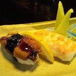 The ebi nigiri was okay, but the unagi was incredible! It was so good, and it tasted like salmon
