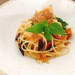"""Special menu of June - July 2018 Spaghetti spicy crispy """"SALID"""" fish  with basil 160 Baht"""