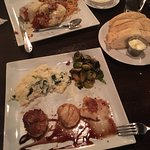 Almond crusted scallops and Chicken Parm fabulous!!!