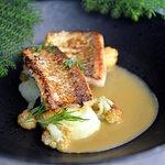 grilled whitefish, crayfish sauce, potato purée & roasted cauliflower