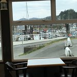 Great view of docks and boats from dining area, photo doesn't do it justice