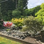 Shrubs and flowers on immaculately maintained hotel grounds