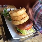 Fantastic Venison Burger with fries, salad and massive onion rings