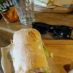 Ham and cheese sandwich, and salmon with cream cheese sandwich. Lovely!
