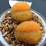 caviar on a potato as 4th starter