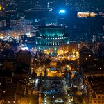Yerevan Night View From the Top of Cascade Complex Stairs
