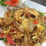 Red curry fried rice with prawns