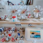Hand made Windmills and houses, churches, and more.