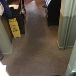 Grime-trodden carpet from rooms to restaurant