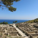 ANCIENT KAMIROS.Ruins of an ancient Greek city, including houses, a temple & aqueducts.