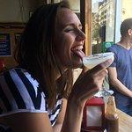 My friend enjoying her margarita :)