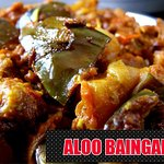 POTATO AND BRINGALS (BAINGAN) COOKS IN INDIAN STYLE GRAVY WITH SOME DELIRIOUS SPICES