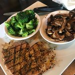 Grilled Chicken with broccoli and mushrooms
