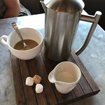 French Press Coffee with House Made Sugar Cubes