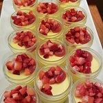 Vanilla bean & strawberry custard