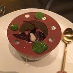 Light, but still creamy, chocolate enrobed cheesecake Centenario cacao and Marcona almonds, cher