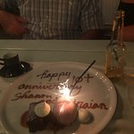 Red wine ice cream and a delicious home made brownie! Celebrating 11 years!