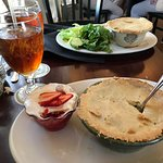 Chicken Pot pie, strawberry fluff salad!